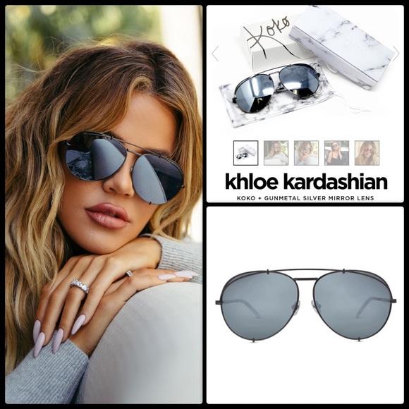 a05586afb5314 Diff Eyewear Accessories - DIFF X KHLOE K ✨ Koko Aviator   Gunmetal NWOT